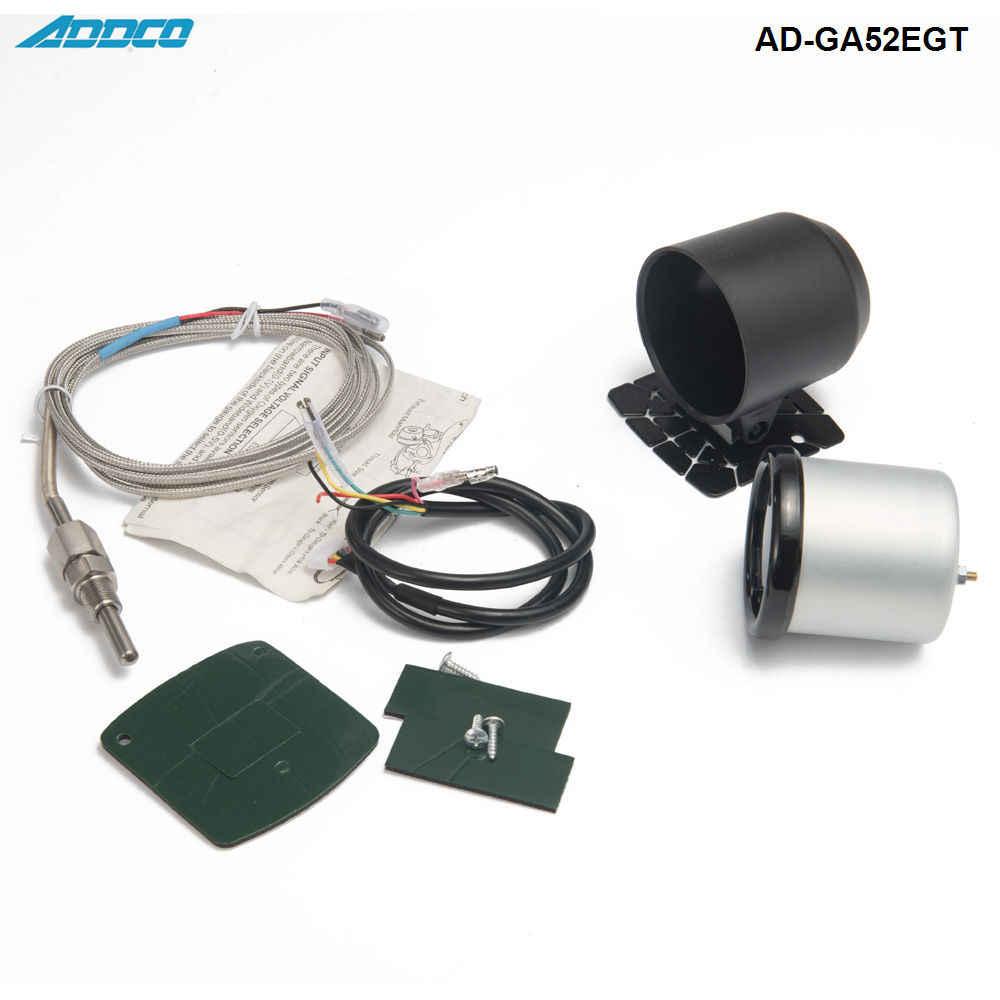 Qiilu Medidor de temperatura de gas de escape de coche de 2 pulgadas y 52 mm medidor de temperatura de gas de escape de 12 V CC medidor de EGT LED digital para coche de 7 colores con sensor