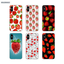 For iPhone 11 X XR XS Pro MAX 4 4S 5 5S SE 5C 6 6S 7 8 Plus Soft Transparent Shell Covers Fruit Strawberry Art Painting(China)