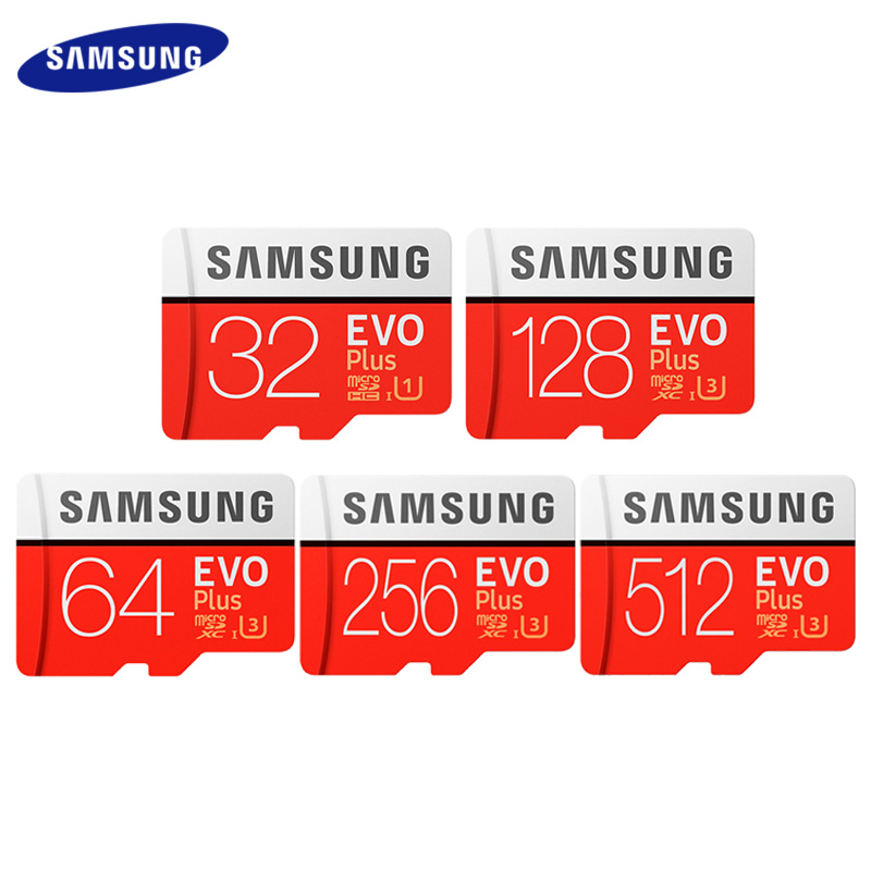 SAMSUNG Original 512GB 256GB 128GB 64GB 32GB EVO Plus Micro SD Card Max 95MB/s Flash Card Memory Card With Adapter TF Card