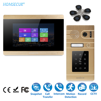 """HOMSECUR 7"""" Wired Touch Screen Video Door Security Intercom 800TVLine Camera IR Night Vision+Password Access BC071-G+BM715-G"""