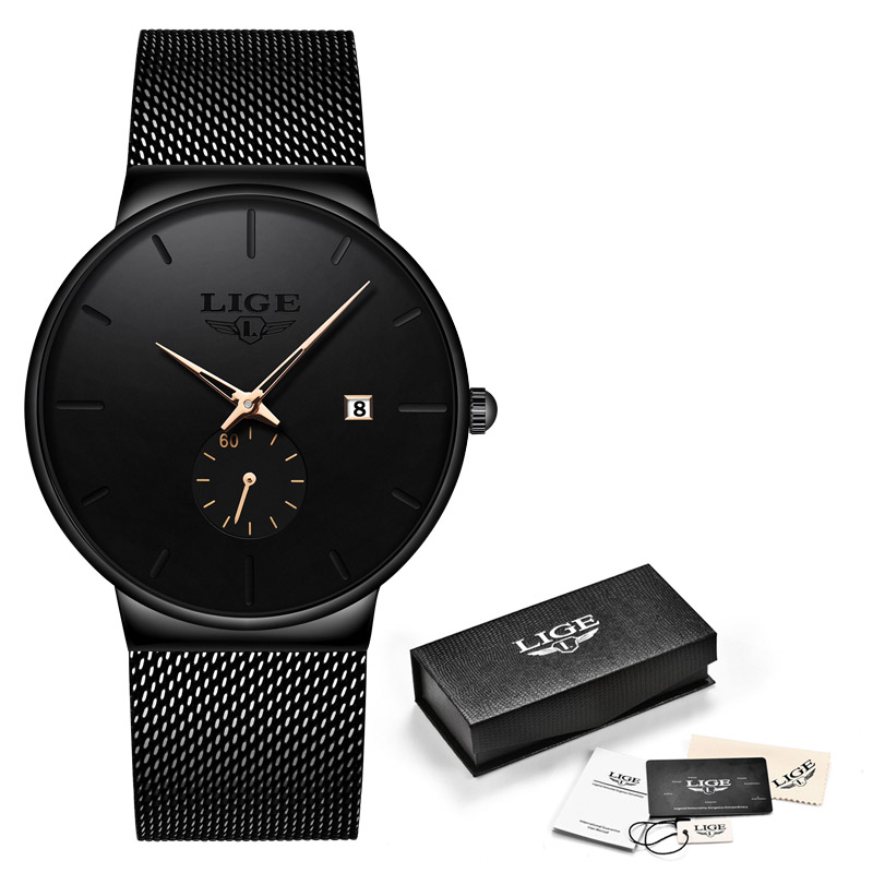 2019 New LIGE Mens Watches Casual Fashion Gift Men Watch Business Waterproof Quartz Watch Full Steel Clock Relogio Masculino+Box