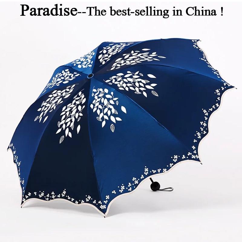 Qualität Sonnenschirm Regen Frauen Mode Prinzessin Blätter Doppel Regenschirme Weibliche Sonnenschirm Tragbare Kreative Weibliche Geschenk