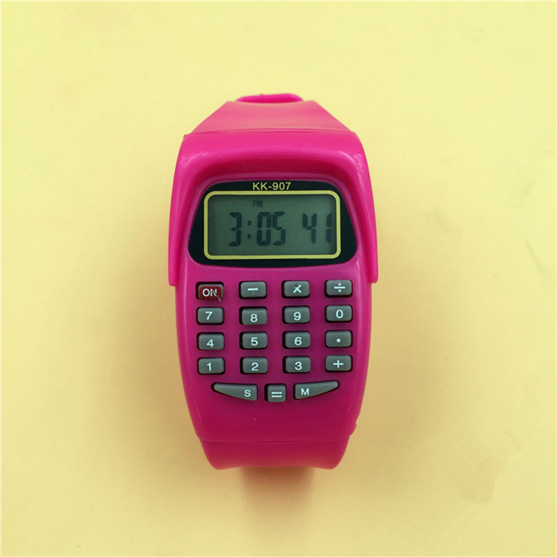 LED Calculator Watch Electronic Digital Chronograph Computer Kids Children Boys Girls Sport Rubber Wrist Watches