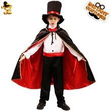 Роскошный костюм вампира для маленьких мальчиков с большим плащом, карнавальные костюмы на Хэллоуин для детей, маскарадный костюм для мальчиков, вампир