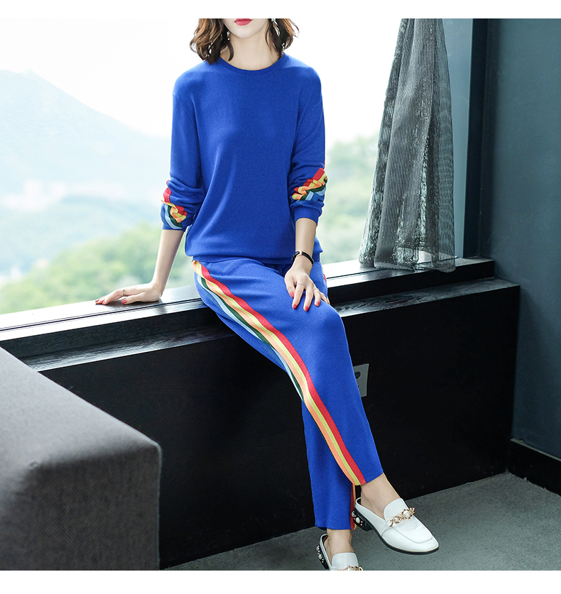 2019 Autumn Knitted Casual Striped Two Piece Sets Outfits Women Sweater And Pants Suits Fashion Elegant Korean Tracksuit Sets 52