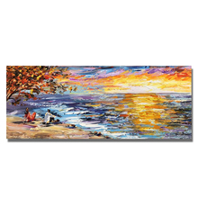 100% Hand-painted oil painting, Seaview mountain abstract modern art murals, for the living room decoration