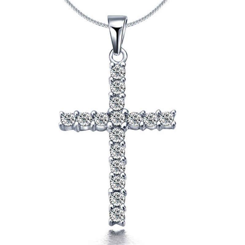 Klasyczny błyszczący srebrny krzyż wisiorek strasy naszyjnik dla kobiety słodki prosty CollarGirls Choker Femme łańcuch biżuteria urodziny