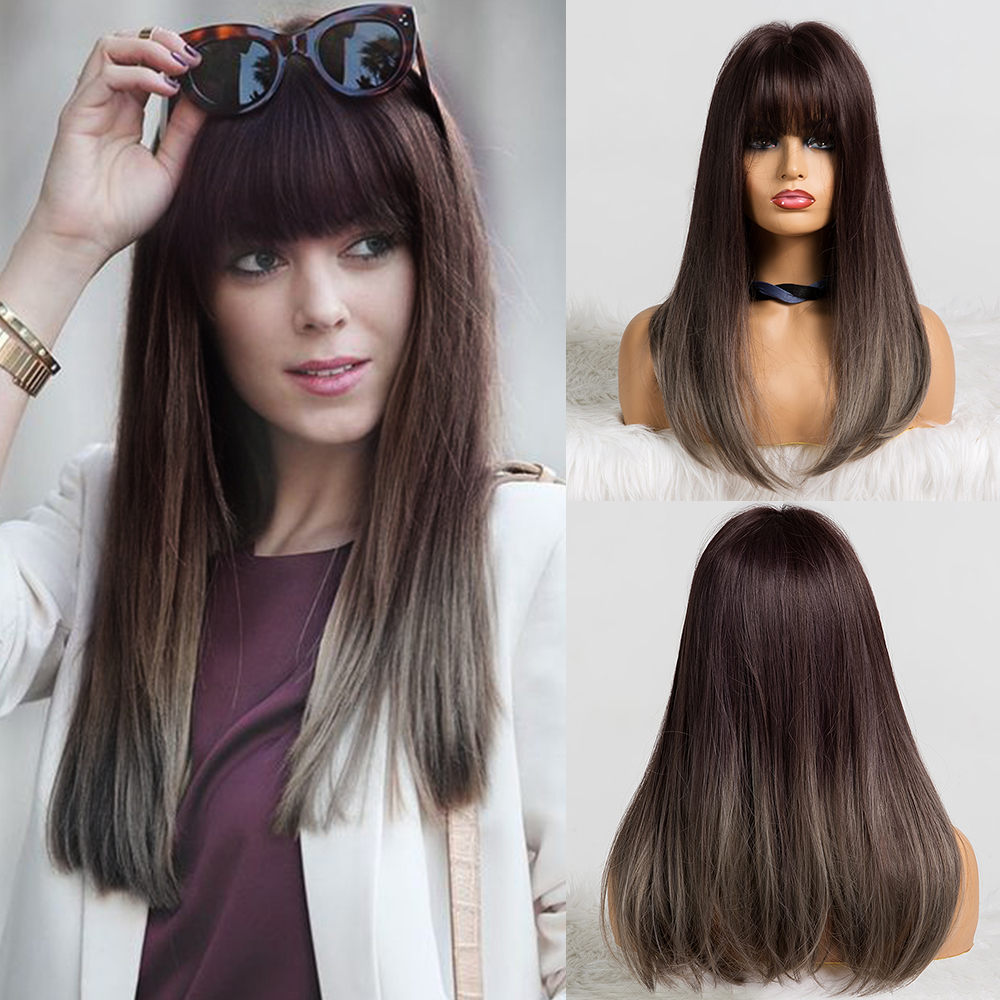 EASIHAIR Wigs With Bangs Heat Resistant Long Straight Synthetic Wigs Mixed Brown And Blonde For White/Black Women Cosplay Wigs
