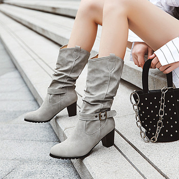 2020 Winter Fashion Flock Cow Boy Mid-Calf Boots Women Shoes Black Beige Grey Brown Lady Booties Zapatos De Mujer Size 34-43
