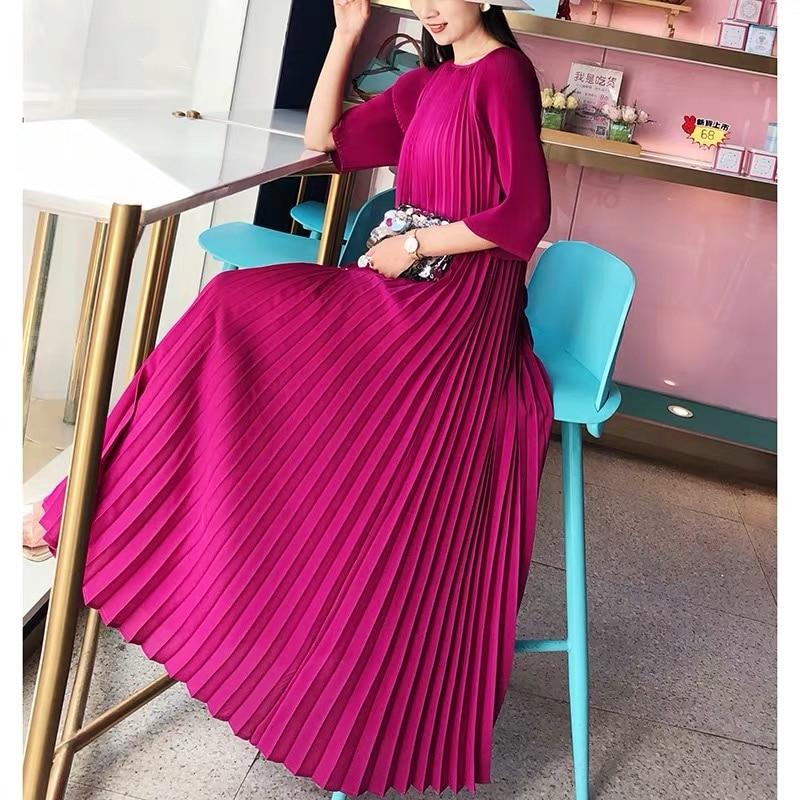 Miyake Pleated Summer Dress Women Plus Size Dress Add Beads Diamonds Temperament Kaftan Original Robe Ete 2018 Johnature TP5174