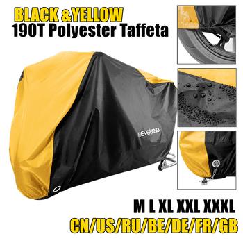 190T żółty czarny pokrowiec na motocykl przypadku skuter Motor terenowy silnika kurzu przed wodą deszczową odporne na Uv osłona przeciwsłoneczna 190T Taffeta M L XL XXXL D45 tanie i dobre opinie NEVERLAND CN (pochodzenie) 295cm