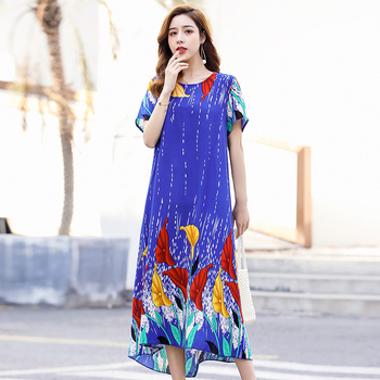 2020 Summer Dress Long Vintage Loose Women Plus Size Elegant Sundress Short Sleeve Dress Casual O-neck Dresses Print Viscose 2020 new summer dresses women casual short sleeve o neck print a line dress large size streetwear sundress loose dress vestidos