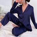 Шелковые однотонные ботфорты Женская пижама с коротким рукавом и отложным воротником, на пуговицах; Сглаживания дышащая женская одежда для...