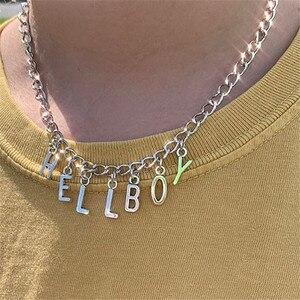 Ожерелье-чокер в стиле Харадзюку с надписью Hellboy и кристаллами, женское ювелирное изделие, подарок для пары, Детские Чокеры с ангелом, женско...