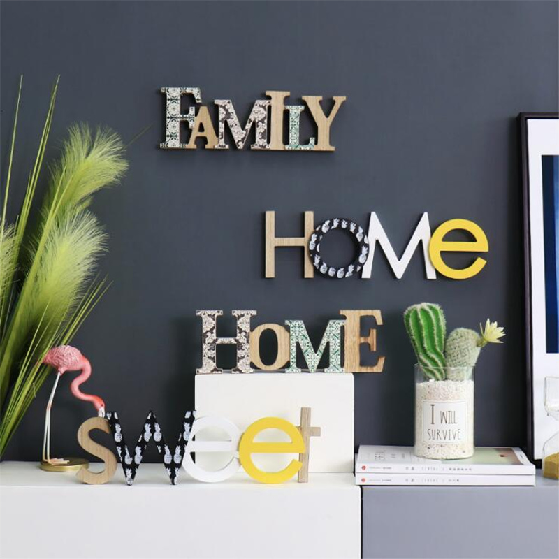 English Wooden Letters Decorative  Crafts Wood Letter FAMILY HOME Letter Ornaments Wall Decoration Wedding Decoration