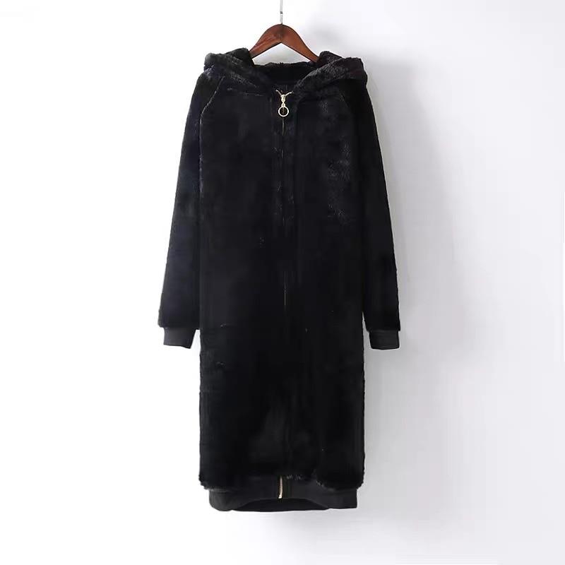 2019 Autumn and Winter Fashion Imitation Rabbit Zipper Sweater Women's Long Hooded Korean Version of the Loose Knee Plush Jacket