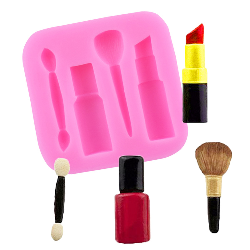 Lipstick Eyebrow Pencil Blush Brush Silicone Fondant Mould Chocolate Cake Decorating Mold DIY Baking Tools fondant