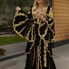 Prom-Dress Evening-Dresses Velvet Arabic Split Traditional Kosovo Formales Sleeves Robe-De-Soire