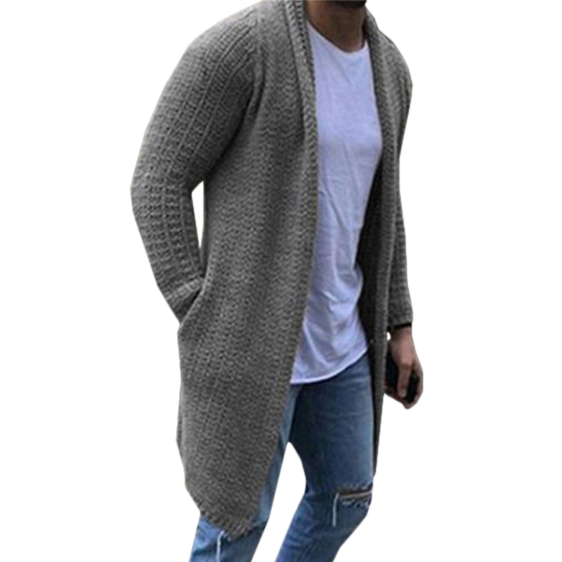 Men's Sweater Autumn Winter 3XL Men Knitted Cardigan Coat Casual Loose Long Sleeve Long Plus Size 2020 Sweater Cardigans