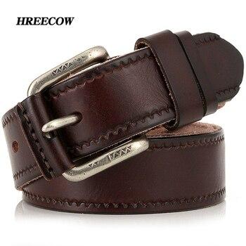 Top Layer Leather Cowskin Genuine Leather Belts Male Belt For Jeans Classical Designer Strap Vintage Pin Buckle Belts For Men 1
