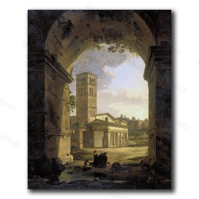 Canvas Wall Art Old Temple By Hubert Robert Painting Classic Art Reproductions  18