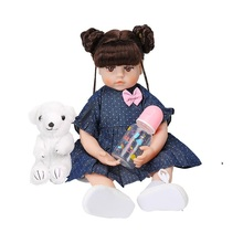 48CM Reborn Doll Blue Star Dot Dress Silicone Doll High Quality Reborn Dolls Cute Lifelike Doll Reborn Baby Toys For Girl Gifts novelty native american indian reborn baby doll with clothes 20 lifelike baby silicone reborn dolls toys for children