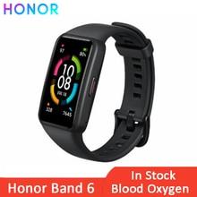 Honor سوار متصل Band 6 ، شاشة AMOLED تعمل باللمس ، مستشعر النشاط البدني مع مراقبة معدل ضربات القلب والنوم ، Bluetooth ، مقاوم للماء