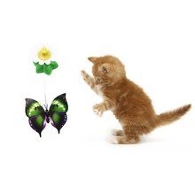 Pet Toy Electric Rotating Colorful Butterfly Bird Funny Cat Toys Seat Scratch