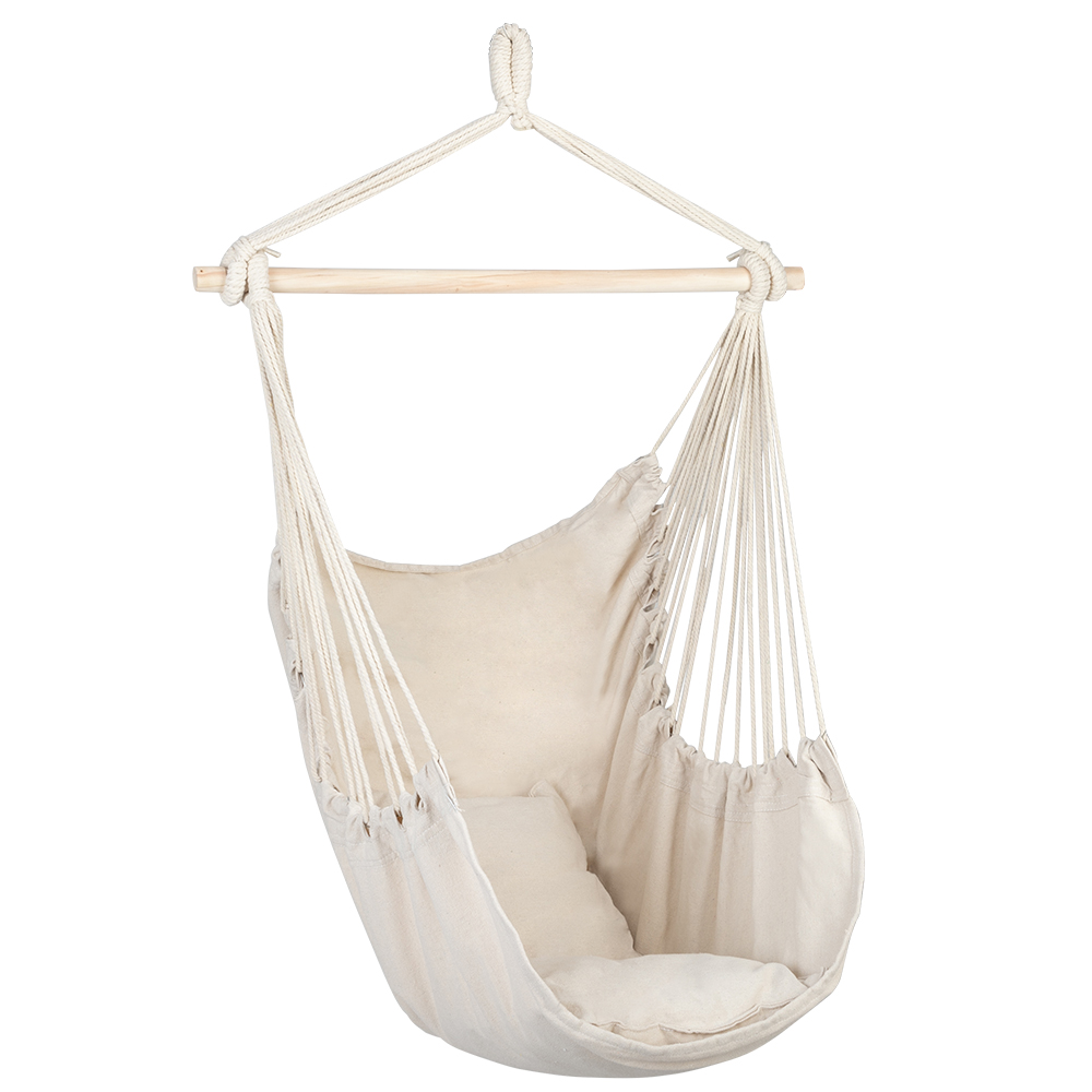 Portable Distinctive Cotton Canvas Hanging Rope Chair With Pillows Beige With 2 pillows Durable For Convenience Household