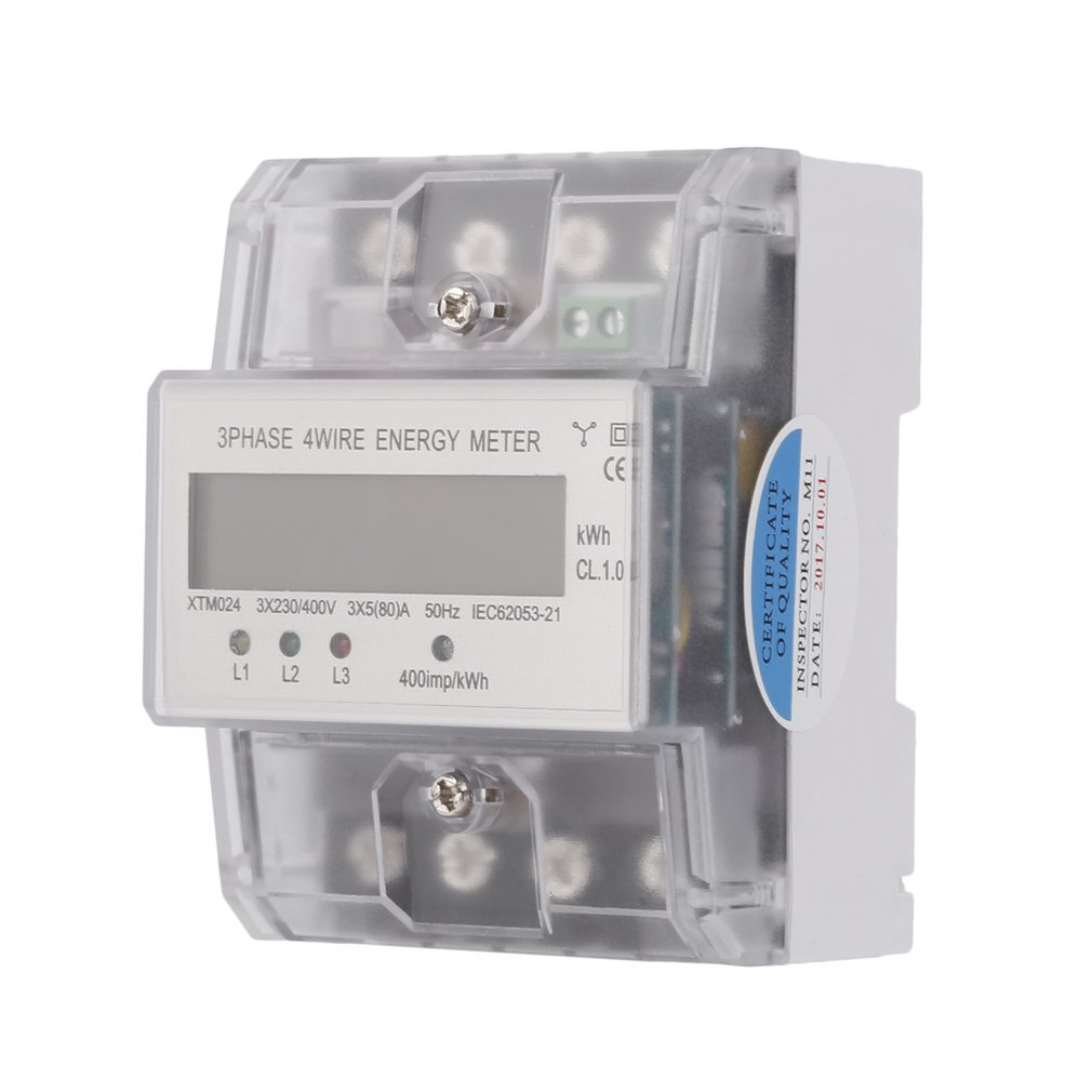 XTM024 5 (80) A 3x230/400V Three Phase Four Wire Energy Meter Rail Electricity Power Accurate Clear Cover|Energy Meters| |  - title=