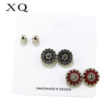 XQ3 pair / set of colored enamel round sun light retro woman fashion earrings Korean quality men couple punk personality(China)