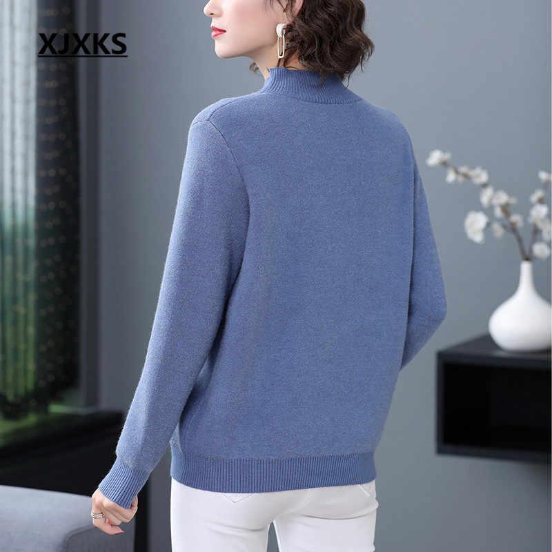 Xjxks 2020 겨울 새로운 두꺼운 따뜻한 편안한 여성 터틀넥 스웨터 느슨한 플러스 사이즈 여성 캐시미어 니트 스웨터 풀오버