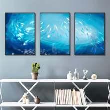 Пейзаж рыбы в синем океане Холст Картина Современный стиль картина