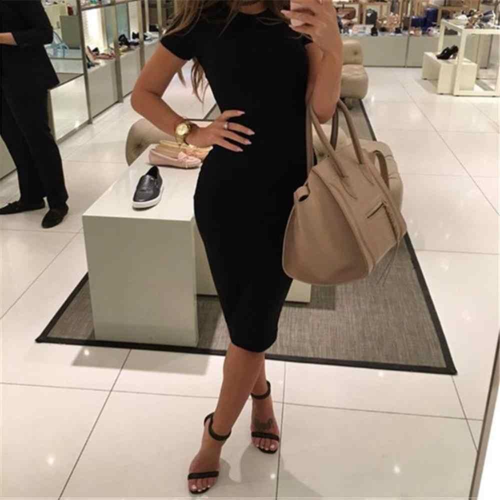2019 Herfst Hot Slim Bodycon Vrouwen Jurk Effen Kleur Chic Party Jurken Casual Slaap Slijtage Dragen Binnen Vestidos Potlood Jurk