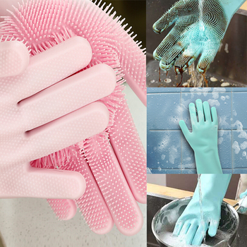 silicone dish scrubber gloves for dog brush car washing cleaning and dish washing gloves