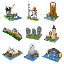 Wisehawk quente mundo famoso arquitetura micro tijolos sphinx grande ben diy inteligência diamante modelo mini blocos de construção crianças brinquedos