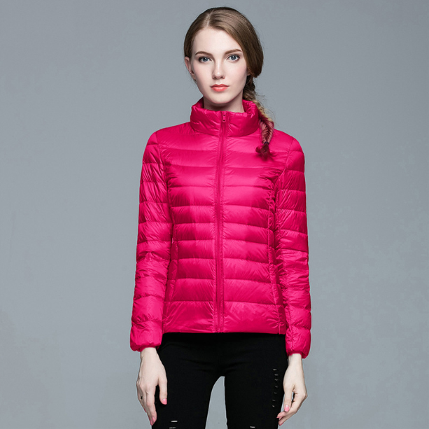 VIP Autumn Winter Women Light Down Jacket White Duck Down Jackets Long Sleeve Warm Coat Parka Female Solid Portable Outwear
