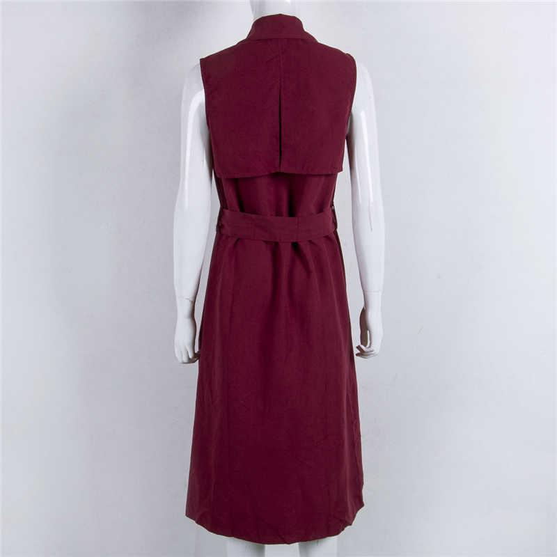 봄과 여름 새로운 여성 야생 단색 긴 카디건 코트 v-목 민소매 카디건 조끼 민소매 자켓