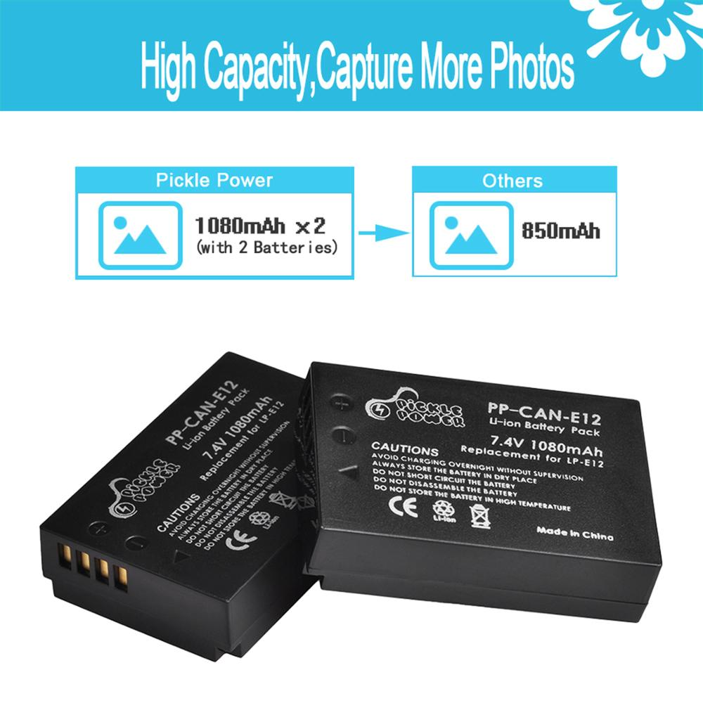 LP-E12 LP E12 LPE12 Battery & LCD USB Dual Charger for Canon EOS M EOS M10 M50 M100 100D Kiss X7 Rebel SL1 Camera 2
