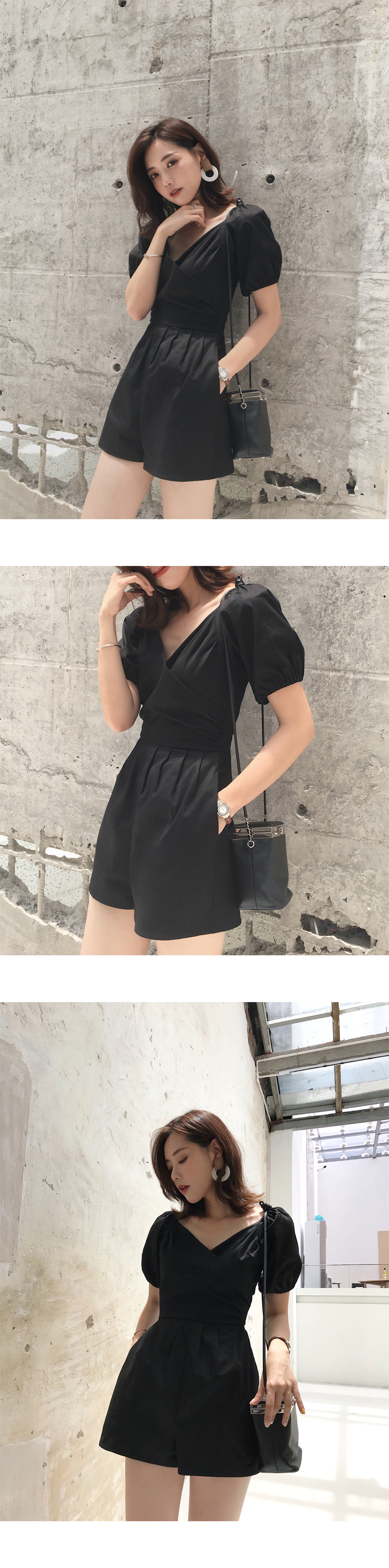 Ha10fe60fd00c4f4bbe828f1c1eebd39aN - LLZACOOSH Runway Women Solid Rompers Summer Short Puff Sleeve Casual Playsuits Holiday Short Beach Holiday Jumpsuits