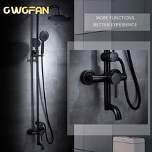 Retro Shower Faucet Black Oil Rubbed Bronze Bathtub Shower Set Water Faucet Rainfall Shower Head With Handheld Mixer Tap R45-505