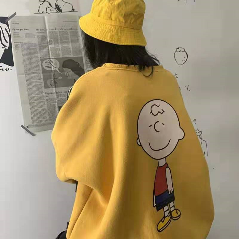 Autumn High Street Harajuku Hoodies Streetwear Cartoon Printed Tops Women Loose Letter Women Clothing Sweatshirt Hoodies