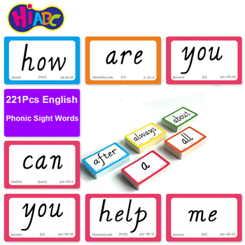 221 шт английские карточки для зрения, фонические карточки для слов, Обучающие Развивающие игрушки для детей, обучающие игры для детей