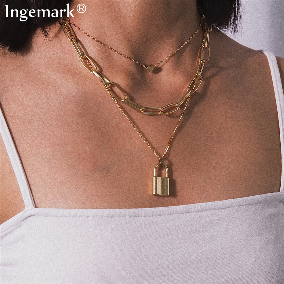 Ingemark Multi Layer Lover Lock Pendant Choker Necklace Steampunk Padlock Heart Chain Necklace Collier Best Couple Jewelry Gift(China)