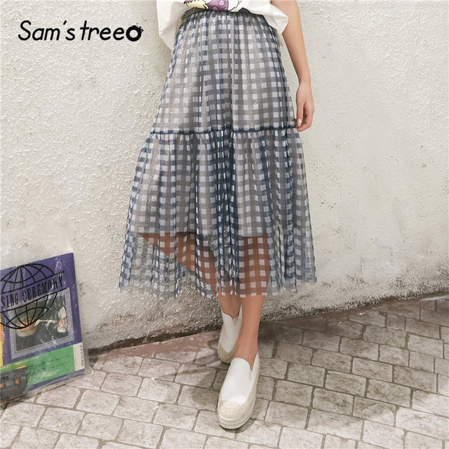 $ US $19.90 SAM'S TREE Blue Plaid Contrast Mesh Casual Preppy Skirts Women 2020 Spring New Elastic Bright Waist Korean Ladies Daily Skirts
