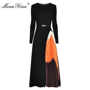 MoaaYina Fashion Designer dress Spring Autumn Women's Dress Sashes knitting Long sleeve Patchwork Pleated Dresses