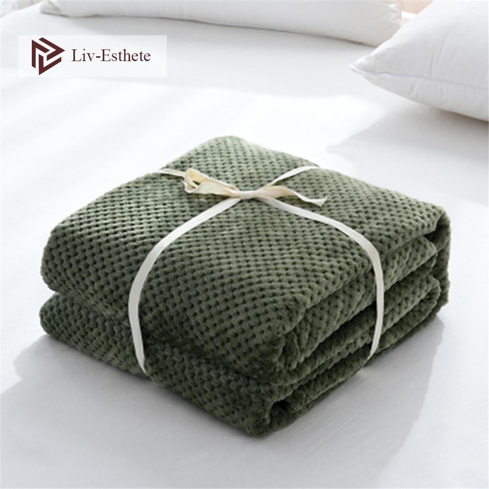 Liv-Esthete Green Super Soft Throw Blanket Flannel Aircraft Sofa Use Office Children Blanket Portable Car Travel Cover Blanket