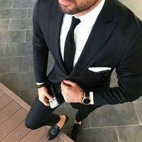 Black Wedding Suits Men 2019 Prom Party Groom Tuxedo 2Piece Groomsmen Blazer Costume Homme Smoking Jacket Terno Masculino