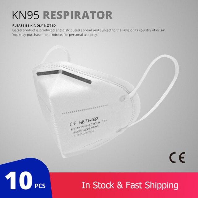 10 Pcs KN95 Gezicht Maskers Stofmasker KN95 Mond Maskers Aanpasbaar Tegen Vervuiling Ademend Masker Filter (Niet Voor Medische gebruik) 1