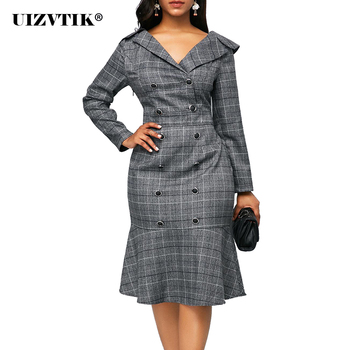 Vintage Plaid Office Bodycon Dress Women Autumn 2020 Long Sleeve Double-breasted Dress Casual Plus Size Slim Ruffles Dresses 5XL 2019 autumn print striped blazer dress women double button ruffles bodycon wrap dress women with sashes ol work office dress